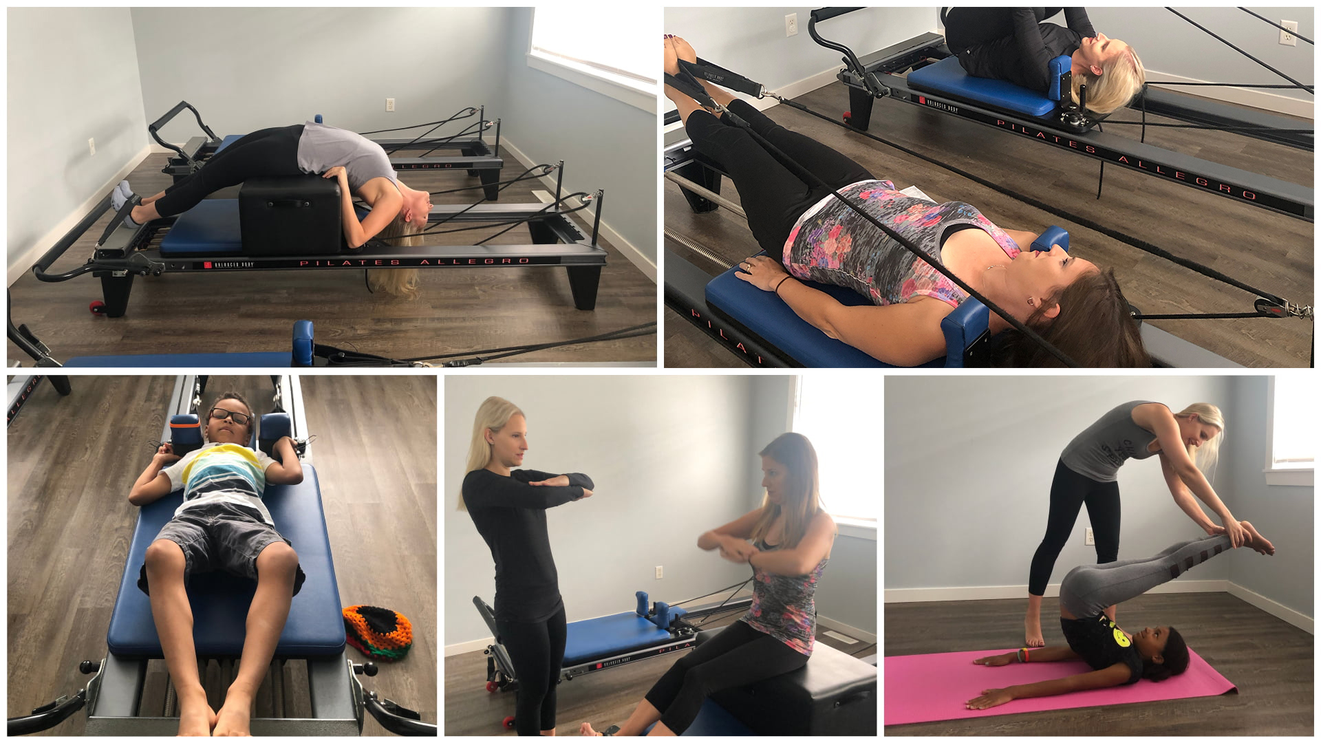 A collage showing people performing Pilates poses in Chilliwack